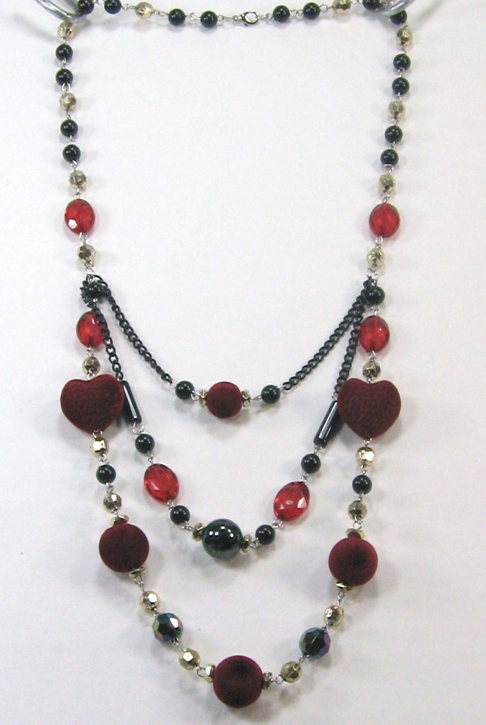 """Beautiful black red silver heart shape beads 3 swing layers long necklace 14-17"""" image 2"""