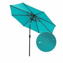 Patio Umbrella: 9 ft Aluminum Push Button Tilt Crank Blue 100% Polyester image 2