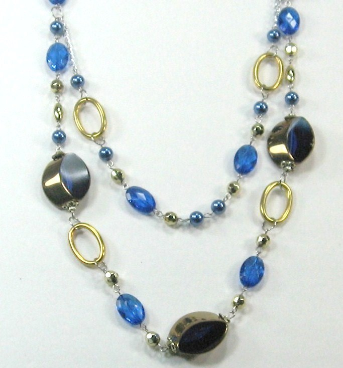 """AWESOME COSTUME COBALT BLUE CRYSTAL MULTI BEADED 2 LAYERS LONG NECKLACE 14-17"""""""