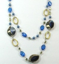 """AWESOME COSTUME COBALT BLUE CRYSTAL MULTI BEADED 2 LAYERS LONG NECKLACE 14-17"""" image 1"""