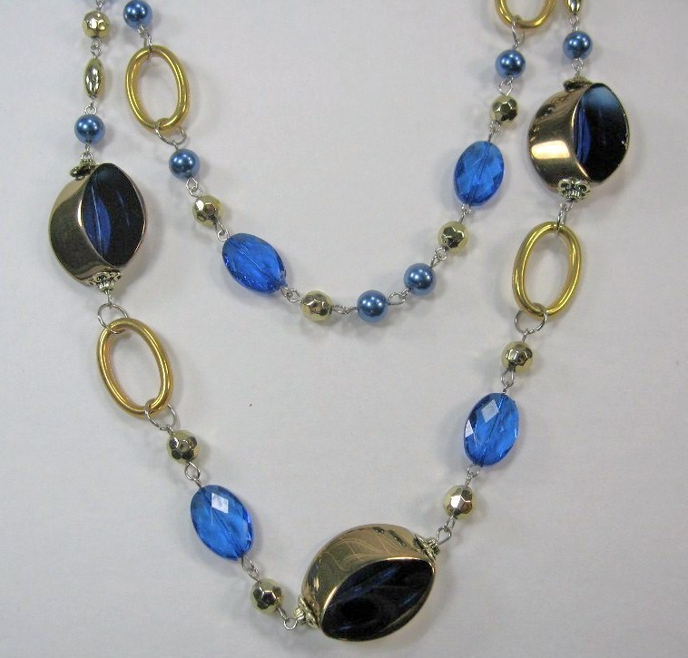"""AWESOME COSTUME COBALT BLUE CRYSTAL MULTI BEADED 2 LAYERS LONG NECKLACE 14-17"""" image 5"""
