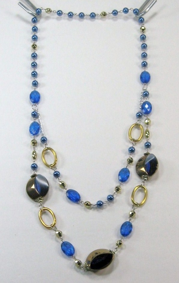 """AWESOME COSTUME COBALT BLUE CRYSTAL MULTI BEADED 2 LAYERS LONG NECKLACE 14-17"""" image 4"""