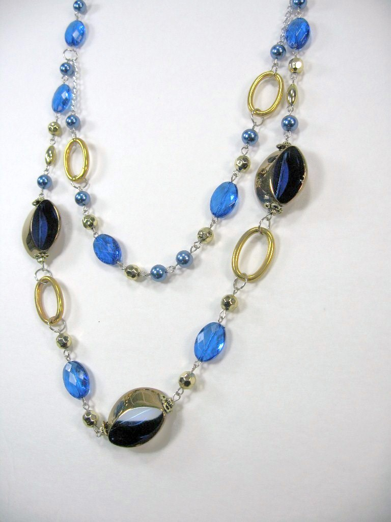 """AWESOME COSTUME COBALT BLUE CRYSTAL MULTI BEADED 2 LAYERS LONG NECKLACE 14-17"""" image 2"""