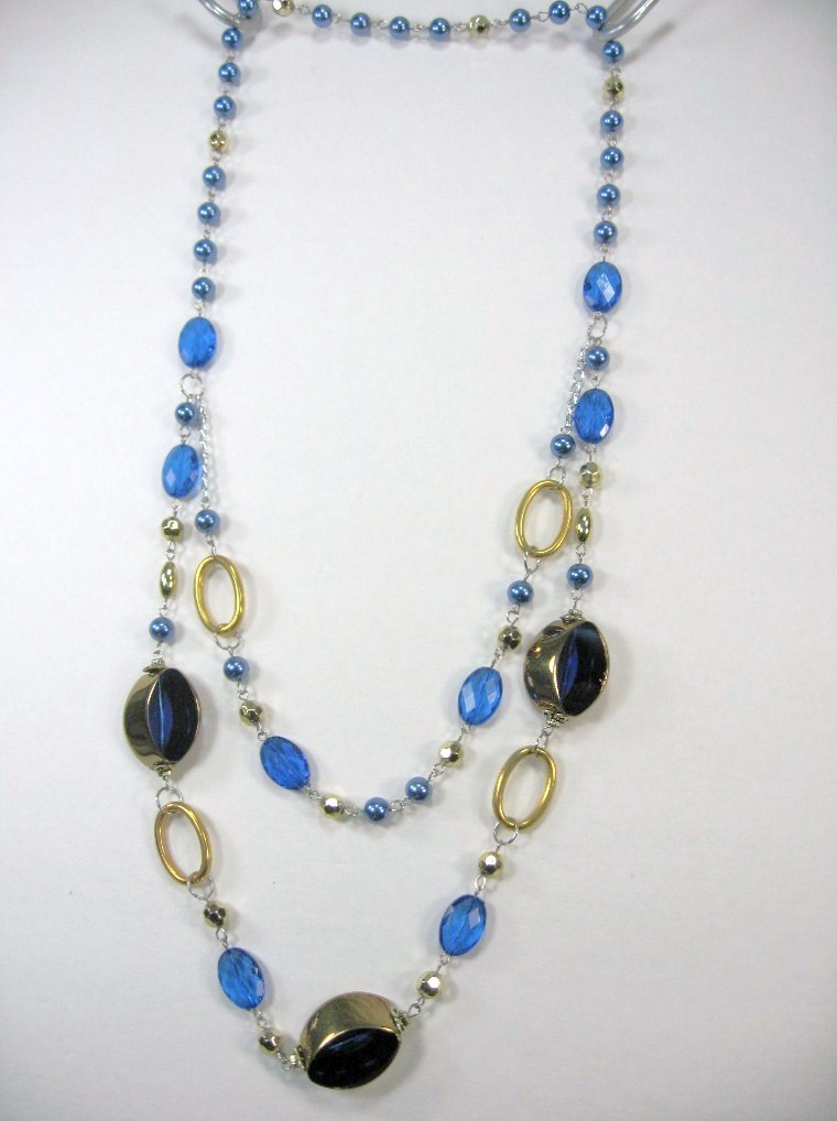 """AWESOME COSTUME COBALT BLUE CRYSTAL MULTI BEADED 2 LAYERS LONG NECKLACE 14-17"""" image 3"""