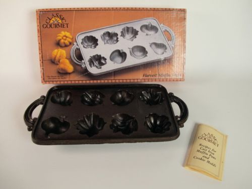 VTG CAST IRON HARVEST FRUITS MUFFIN MOLD by JOHN WRIGHT
