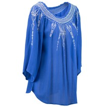 Terre Bleue Embroidered Peasant Top Marine Blue Women's Sz Xl Nwt MSRP$44 - $27.20