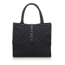 Pre-Loved Gucci Black Canvas Fabric GG Jackie Handbag Italy - $345.02