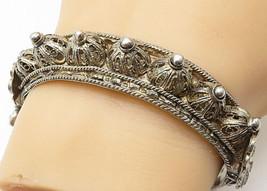 925 Silver - Vintage Antique Filigree Domes Twist Hinge Bangle Bracelet ... - $169.70