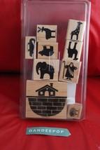 Stampin' Up! 9 Piece Definitely Decorative Noah 1996 Rubber Stamp Set Ark Animal - $24.74