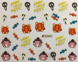BANG STORE Nail Art 3D Decal Stickers Happy Halloween Candy Reeper Pumpkin  - $2.12