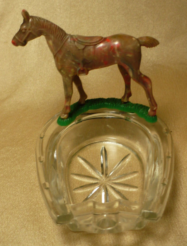 Vintage Lucky Press Cut Glass Horseshoe Horse Ash Tray