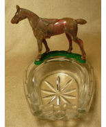 Vintage Lucky Press Cut Glass Horseshoe Horse Ash Tray - $18.59