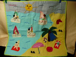 Vintage Peru Folk Art Wall Hanging Wind Surfing 1980's image 1