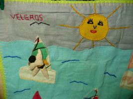 Vintage Peru Folk Art Wall Hanging Wind Surfing 1980's image 2