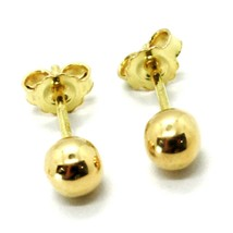 18K YELLOW GOLD EARRINGS WITH BALL BALLS SPHERES SPHERE DIAM. 5 MM MADE ... - $155.00