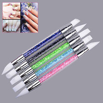 5 PCS Silicone Tip UV Gel Acrylic Nail Art Brushes Carving Double-end Pen Set - $9.34