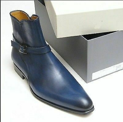 Handmade Men's Blue High Ankle Monk Strap Leather Jodhpurs Boots