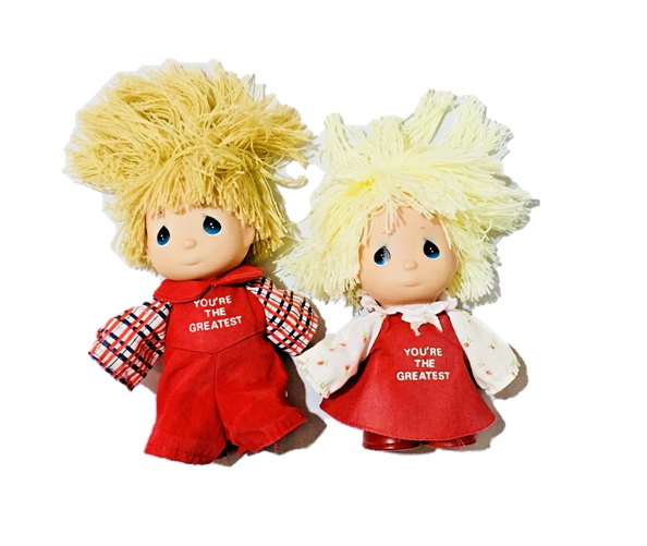 Precious Moments Hi Babies Dolls Red Clothes Small Boy and Girl Toys Collectible