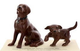 Hagen-Renaker Miniature Ceramic Dog Figurine Chocolate Labrador Sitting with Pup