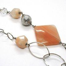 Halskette Silber 925, Jade Brown, Länge 105 cm, Kette Oval und Rolo image 6