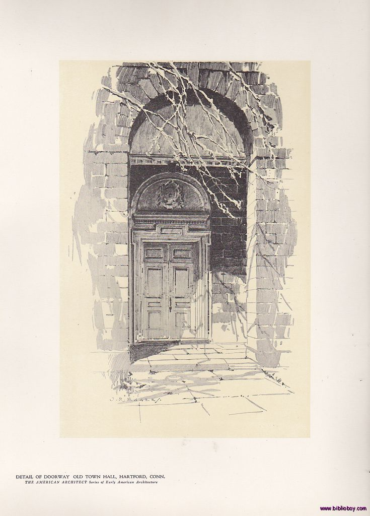 Doorway Old Town Hall, Hartford Print O.R. Eggers 1922