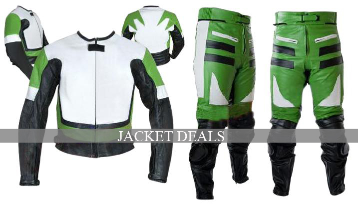 NWT Green & White Biker Motorcycle Premium Genuine Leather Jacket Trouser Suit