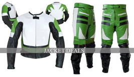 NWT Green & White Biker Motorcycle Premium Genuine Leather Jacket Trouser Suit image 1