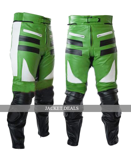NWT Green & White Biker Motorcycle Premium Genuine Leather Jacket Trouser Suit image 2