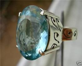 AMAZING 54 CARATS 21X18MM AQUAMARINE FILIGREE RING - $79.00