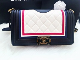AUTHENTIC CHANEL LIMITED EDITION MULTICOLOR LAMBSKIN CREST MEDIUM BOY FLAP BAG