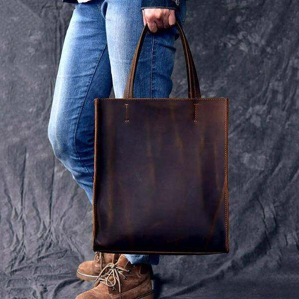 On Sale, Handmade Tote Bag, Horse Leather Shoulder Bag, Leather Shopping Bag image 5