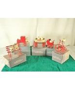 5 Avon Christmas Ornaments Teddy Bears Red Tin Train Wagon Trike Buggy Orig Box - $8.00