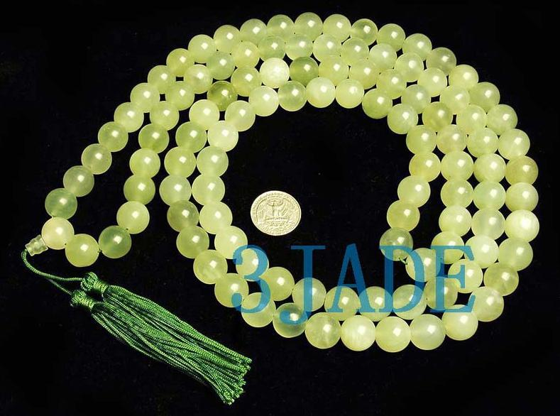 "63"" Tibetan 108 Jade Meditation Yoga Prayer Beads Mala"