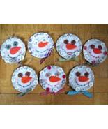 Kerr Jar Lid Country Crafted Felt Button Snowman Ornaments OOAK - $12.99