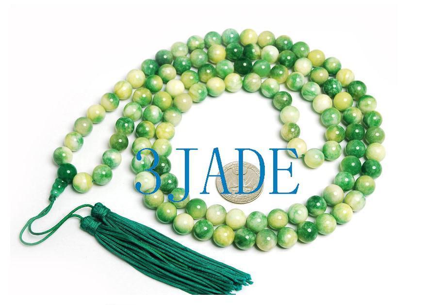 "42"" Tibetan 108 Apple Green Jade Prayer Beads Mala #08"