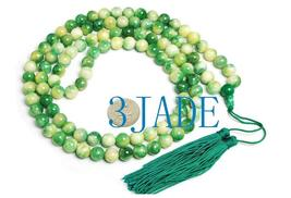 "42"" Tibetan 108 Apple Green Jade Prayer Beads Mala #08  image 3"