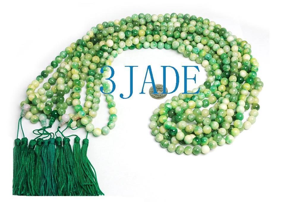 "42"" Tibetan 108 Apple Green Jade Prayer Beads Mala #08  image 2"