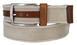 C058 Men's Italian Fabric with Leather Accents belt Made In Italy Grezzo (Bei... - $24.72