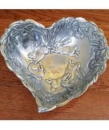 "Arthur Court Metal Serving Bowl, Heart-Shape, Bunnies & Daffodils, 10-1/4"" - $38.99"