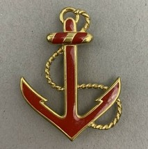 Monet Anchor Brooch Pin Red Enamel Gold Tone Nautical Vintage Designer S... - $25.21