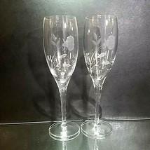 2 (Two) LENOX KORBEL Floral Etched Lead Crystal Champagne Flutes - Signed - $14.24