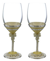 Pair of Medieval Mother of Pearl with Royal Bow Metal Stem Fully Decorat... - $54.94