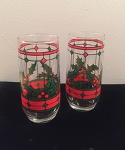 Vintage 70s Stained glass holly Christmas cocktail glasses
