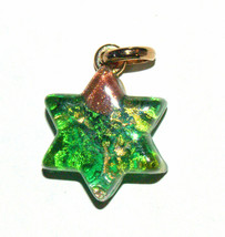 Murano Glass Star of David Judaica Pendant Green Gold Sparkle Venice Italy - $15.90
