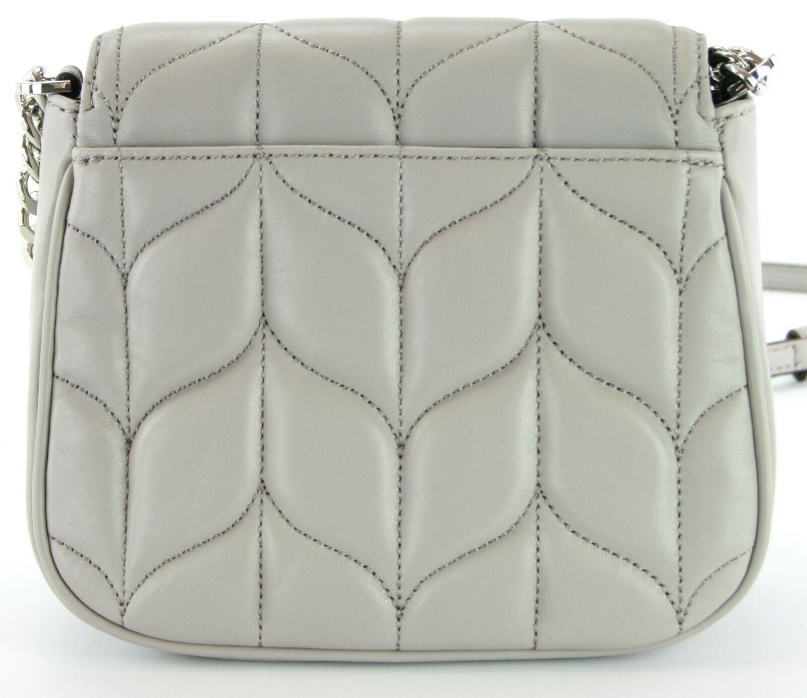 Michael Kors Peyton Quilted Leather Cross Body Bag Small Handbag Grey RRP £270