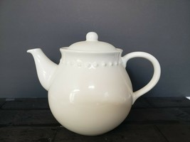 Pottery Barn Emma Teapot Ivory White Beaded Large Retired Farm Country D... - $17.10