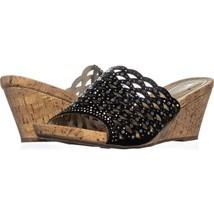White Mountain Amal Wedge Slide Sandals 195, Black, 11 US - $29.75