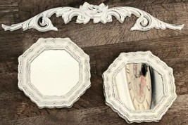 Chippy White Vintage Syroco Rose Swag & 2 Mirrors Shabby Cottage Chic - $21.73