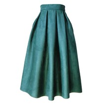 Winter Suede Pleated Midi Skirt Women High Waisted Midi Holiday Skirt-dark green image 1