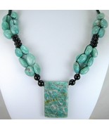 Black Onyx and Blue Amazonite Hand Knotted Macr... - $117.00